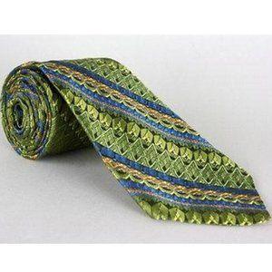 Vtg 60s/70s Dobbs New York Wide Green/Blue Necktie